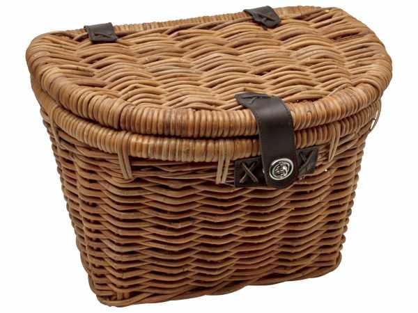 Electra Basket Rattan Woven w/Lid Light Brown