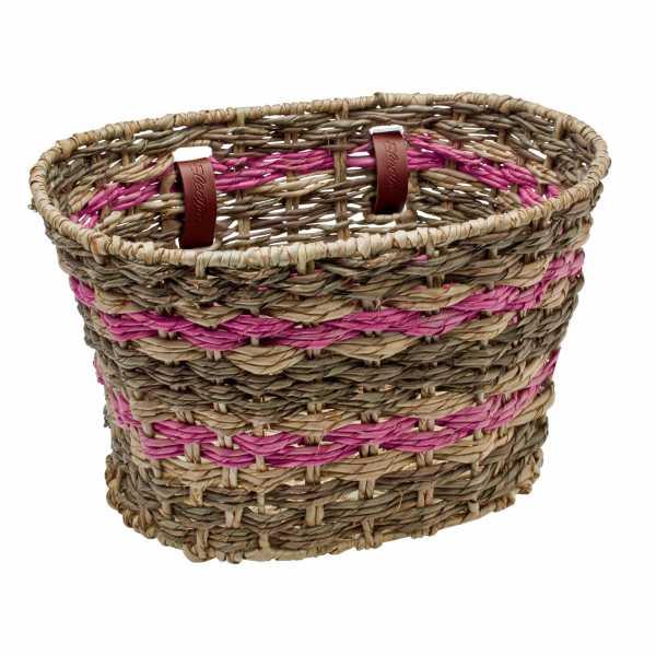Basket Electra Woven Palm Frond Natural Seafoam
